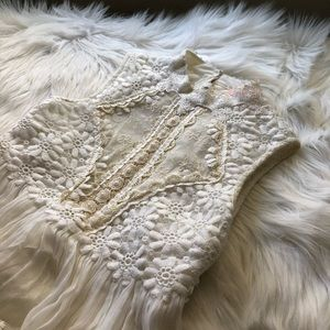 free people lacy backless mockneck ruffle blouse
